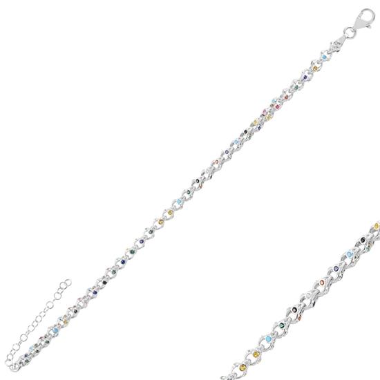 Ürün resmi: Rodyum Kaplama Karışık Renk Zirkon Taşlı Gümüş Bayan Bileklik