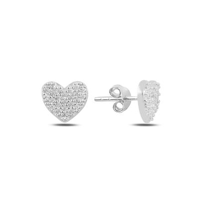 Resim Rodyum Kaplama Kalp Zirkon Taşlı Gümüş Küpe