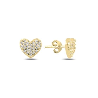 Resim Altın Kaplama Kalp Zirkon Taşlı Gümüş Küpe