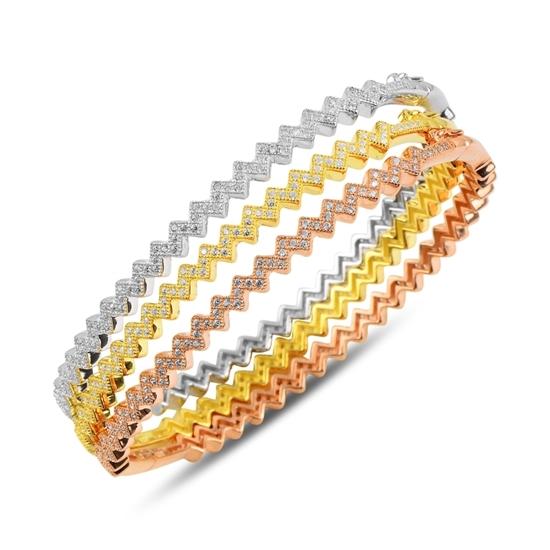 Ürün resmi: 3 Renk Zirkon Taşlı Gümüş Bilezik