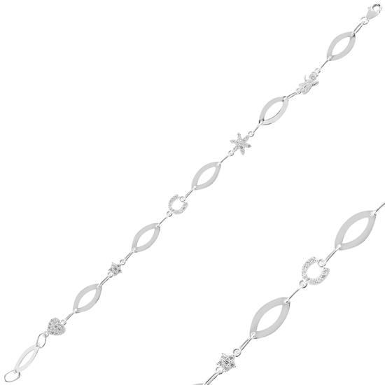Ürün resmi: Rodyum Kaplama Zirkon Taşlı Gümüş Bayan Bileklik
