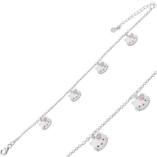 Ürün resmi: Rodyum Kaplama Kedi Mineli & Zirkon Taşlı Gümüş Bayan Bileklik