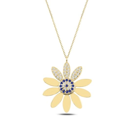 Ürün resmi: Altın Kaplama Papatya & Sosyete Gözü Zirkon Taşlı Gümüş Bayan Kolye
