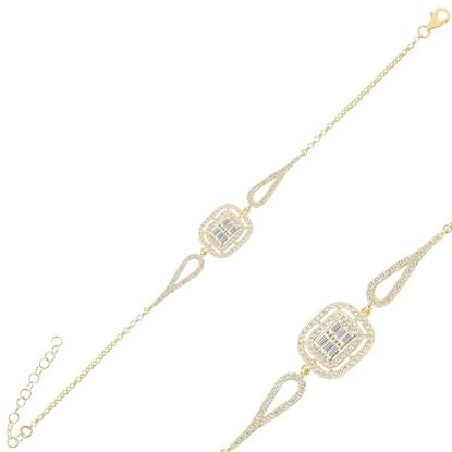 Resim Altın Kaplama Baget Zirkon Taşlı Gümüş Bayan Bileklik