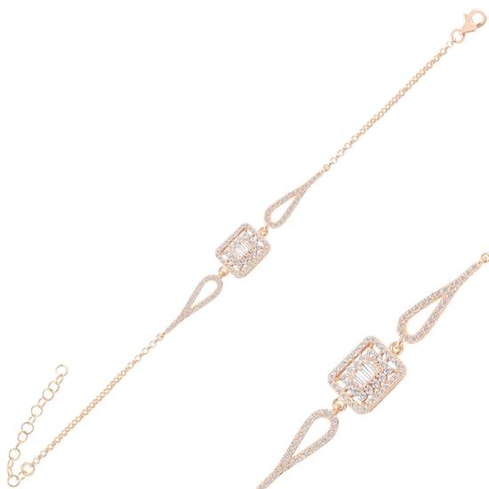 Ürün resmi: Rose Kaplama Baget Zirkon Taşlı Gümüş Bayan Bileklik