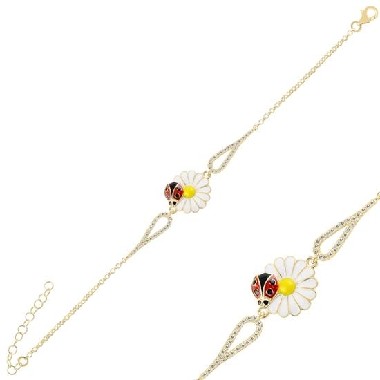 Ürün resmi: Altın Kaplama Mineli Papatya & Uğur Böceği Zirkon Taşlı Gümüş Bayan Bileklik