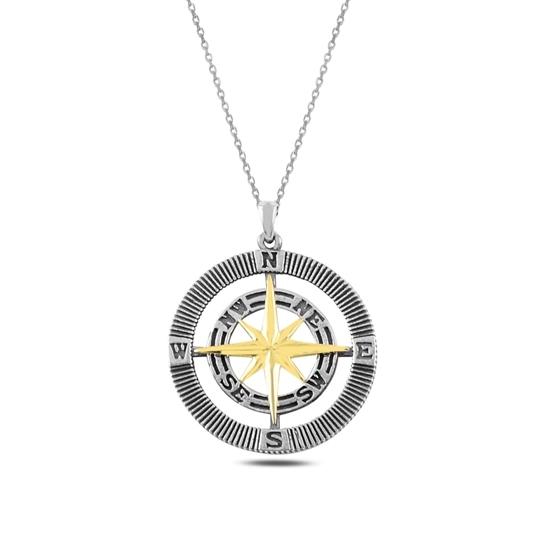 Ürün resmi: Altın Kaplama Pusula Gümüş Bayan Kolye