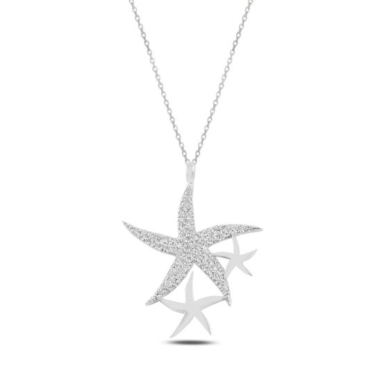 Ürün resmi: Rodyum Kaplama Deniz Yıldızı Zirkon Taşlı Gümüş Bayan Kolye