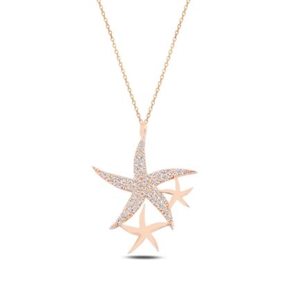 Resim Rose Kaplama Deniz Yıldızı Zirkon Taşlı Gümüş Bayan Kolye