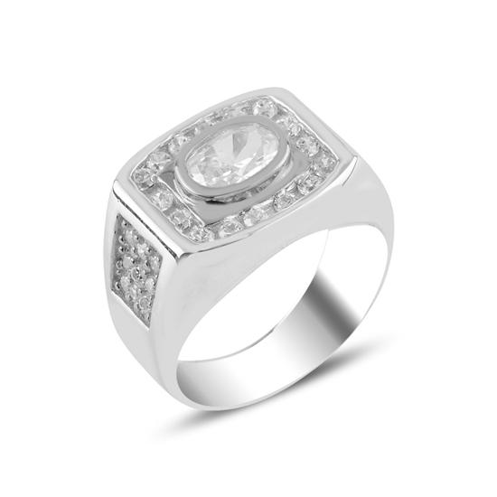 Ürün resmi: Rodyum Kaplama Zirkon Taşlı Gümüş Erkek Yüzük