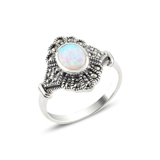 Ürün resmi: Opal & Markazit Taşlı Gümüş Bayan Yüzük