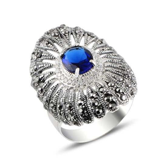 Ürün resmi: Safir Zirkon & Markazit Taşlı Gümüş Bayan Yüzük