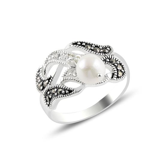 Ürün resmi: İnci & Markazit & Zirkon Taşlı Gümüş Bayan Yüzük