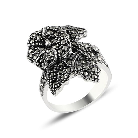Ürün resmi: Çiçek Markazit Taşlı Gümüş Bayan Yüzük