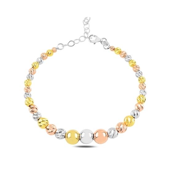 Ürün resmi: Rodyum Kaplama 3 Renk Dorica Toplu Gümüş Bilezik