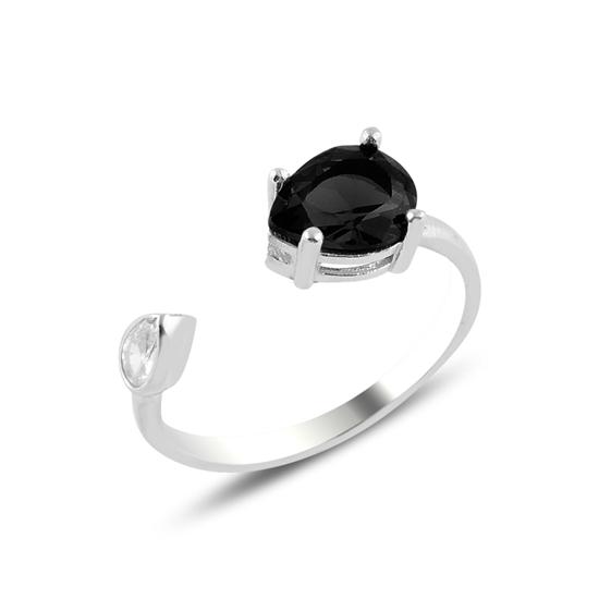 Ürün resmi: Rodyum Kaplama Siyah Zirkon Taşlı Damla Renkli Zirkon Tektaş Ayarlanabilir Boylu Gümüş Bayan Yüzük