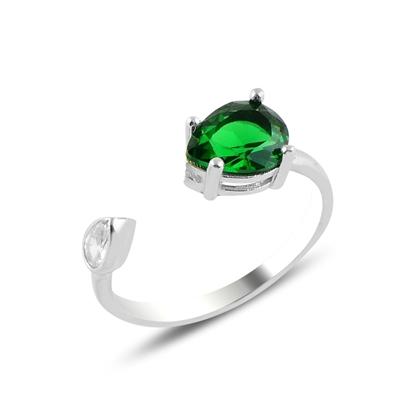 Resim Rodyum Kaplama Zümrüt Zirkon (Yeşil) Taşlı Damla Renkli Zirkon Tektaş Ayarlanabilir Boylu Gümüş Bayan Yüzük