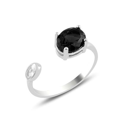 Resim Rodyum Kaplama Siyah Zirkon Taşlı Oval Renkli Zirkon Tektaş Ayarlanabilir Boylu Gümüş Bayan Yüzük
