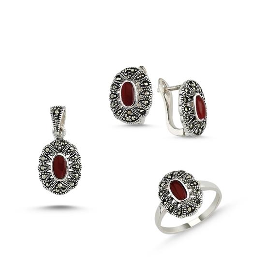 Ürün resmi: Kırmızı Akik Markazit Taşlı Gümüş Üçlü Gümüş Bayan Set