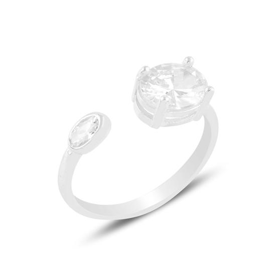 Ürün resmi: Rodyum Kaplama Oval Zirkon Tektaş Ayarlanabilir Boylu Gümüş Bayan Yüzük