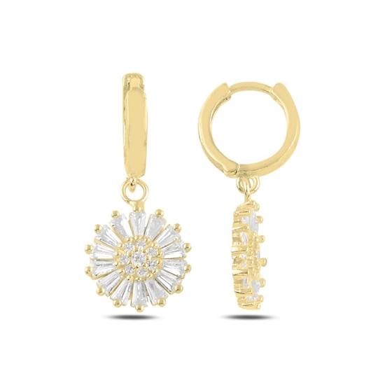 Ürün resmi: Altın Kaplama Baget Zirkon Taşlı Gümüş Küpe