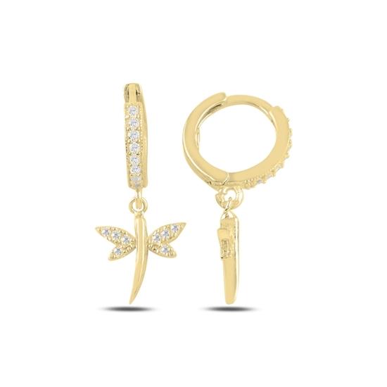Ürün resmi: Altın Kaplama Sallantılı Yusufçuk Zirkon Taşlı Halka Gümüş Küpe