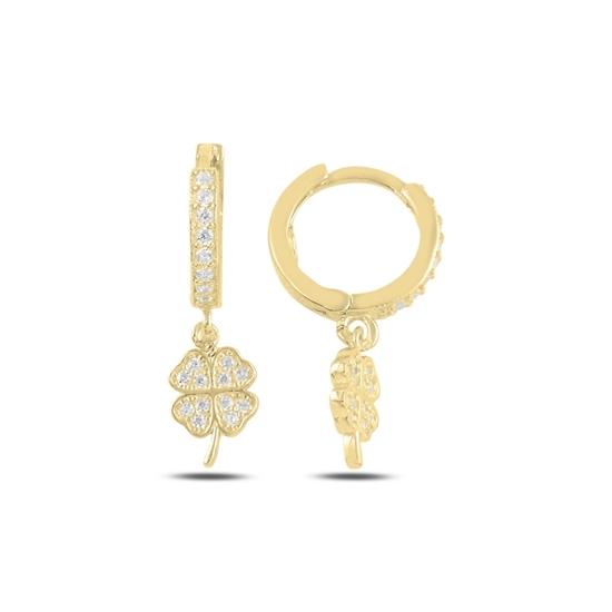 Ürün resmi: Altın Kaplama Sallantılı Yonca Zirkon Taşlı Halka Gümüş Küpe