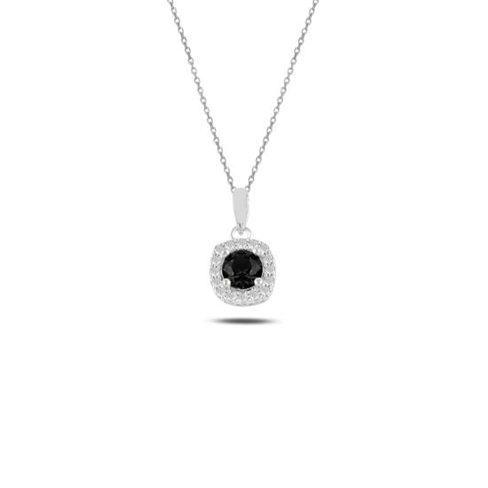Ürün resmi: Rodyum Kaplama Siyah Zirkon Tektaş Renkli Zirkon Taşlı Gümüş Bayan Kolye