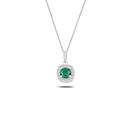 Ürün resmi: Rodyum Kaplama Zümrüt Zirkon (Yeşil) Tektaş Renkli Zirkon Taşlı Gümüş Bayan Kolye