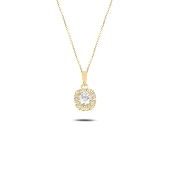 Ürün resmi: Altın Kaplama Tektaş Zirkon Taşlı Gümüş Bayan Kolye