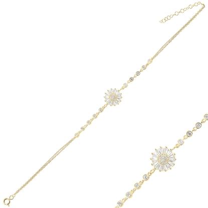 Resim Altın Kaplama Baget Zirkon Taşlı Çift Sıra Gümüş Bayan Zincir Bileklik