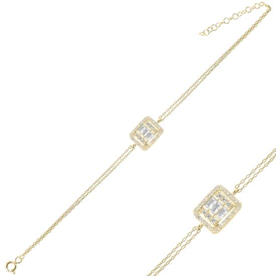 Ürün resmi: Altın Kaplama Baget Zirkon Taşlı Çift Sıra Gümüş Bayan Zincir Bileklik