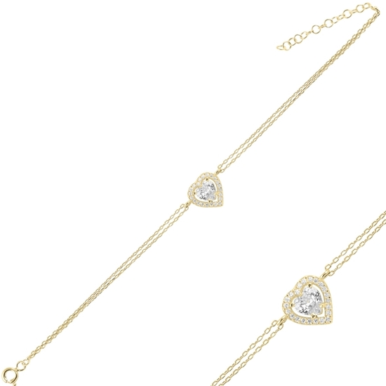 Ürün resmi: Altın Kaplama Kalp Zirkon Taşlı Çift Sıra Gümüş Bayan Zincir Bileklik