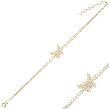 Resim Altın Kaplama Kelebek Zirkon Taşlı Çift Sıra Gümüş Bayan Zincir Bileklik