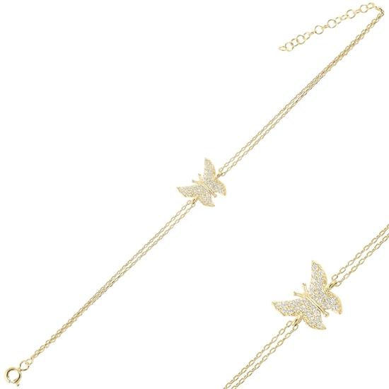 Ürün resmi: Altın Kaplama Kelebek Zirkon Taşlı Çift Sıra Gümüş Bayan Zincir Bileklik