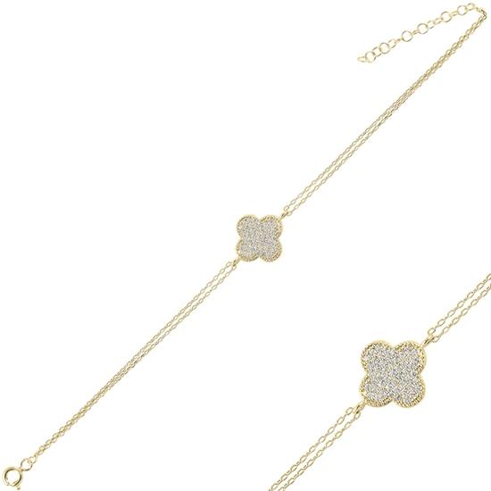 Ürün resmi: Altın Kaplama Yonca Zirkon Taşlı Çift Sıra Gümüş Bayan Zincir Bileklik
