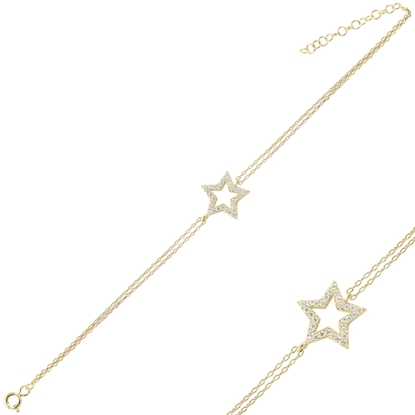Resim Altın Kaplama Yıldız Zirkon Taşlı Çift Sıra Gümüş Bayan Zincir Bileklik