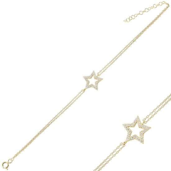 Ürün resmi: Altın Kaplama Yıldız Zirkon Taşlı Çift Sıra Gümüş Bayan Zincir Bileklik