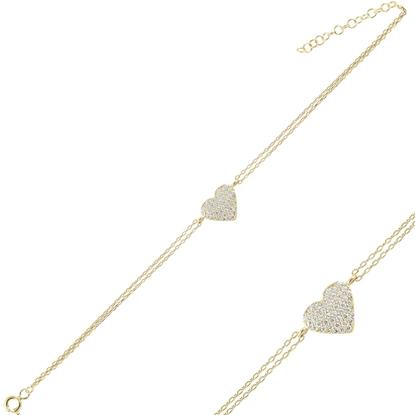 Resim Altın Kaplama Kalp Zirkon Taşlı Çift Sıra Gümüş Bayan Zincir Bileklik