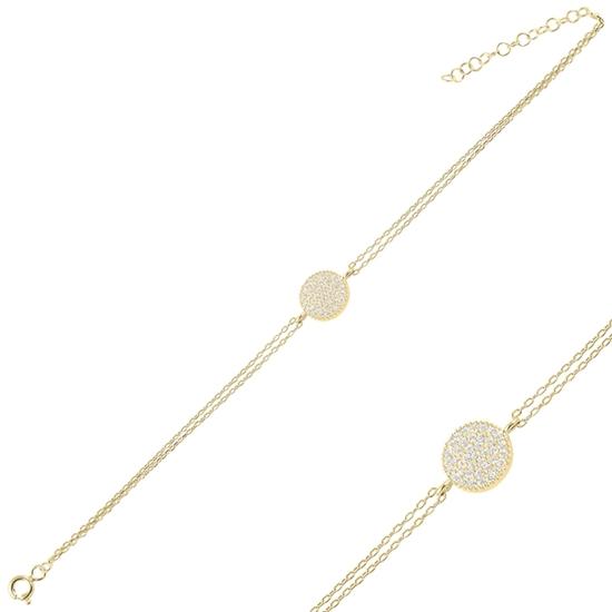Ürün resmi: Altın Kaplama Yuvarlak Zirkon Taşlı Çift Sıra Gümüş Bayan Zincir Bileklik