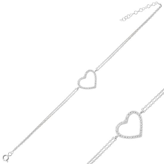 Ürün resmi: Rodyum Kaplama Kalp Zirkon Taşlı Çift Sıra Gümüş Bayan Zincir Bileklik
