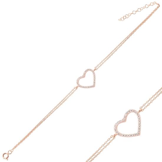 Ürün resmi: Rose Kaplama Kalp Zirkon Taşlı Çift Sıra Gümüş Bayan Zincir Bileklik