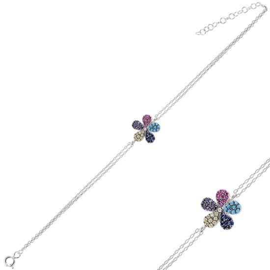 Ürün resmi: Rodyum Kaplama Papatya Renkli Zirkon Taşlı Çift Sıra Gümüş Bayan Zincir Bileklik
