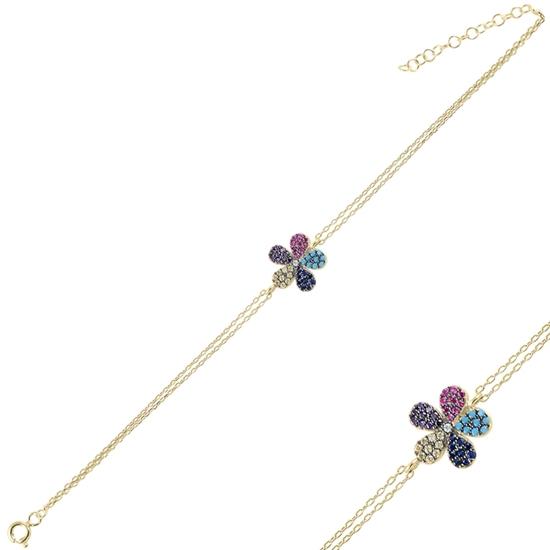 Ürün resmi: Altın Kaplama Papatya Renkli Zirkon Taşlı Çift Sıra Gümüş Bayan Zincir Bileklik