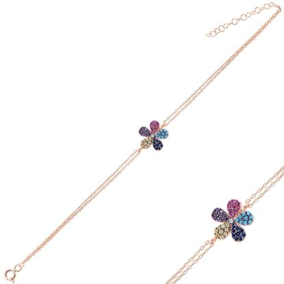 Resim Rose Kaplama Papatya Renkli Zirkon Taşlı Çift Sıra Gümüş Bayan Zincir Bileklik
