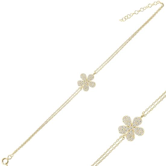 Ürün resmi: Altın Kaplama Papatya Zirkon Taşlı Çift Sıra Gümüş Bayan Zincir Bileklik