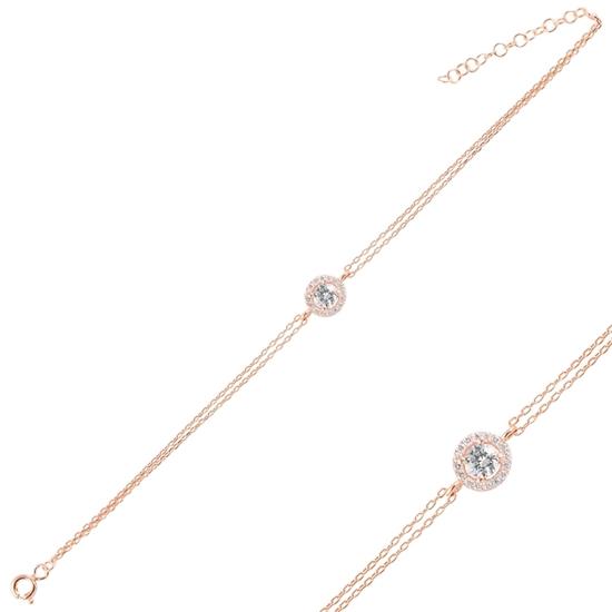 Ürün resmi: Altın Kaplama Zirkon Taşlı Çift Sıra Gümüş Bayan Zincir Bileklik