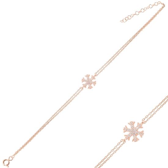 Ürün resmi: Rose Kaplama Kar Tanesi Zirkon Taşlı Çift Sıra Gümüş Bayan Zincir Bileklik