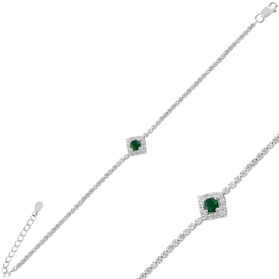 Ürün resmi: Rodyum Kaplama Zümrüt Zirkon (Yeşil) Zirkon Taşlı Gümüş Bayan Bileklik