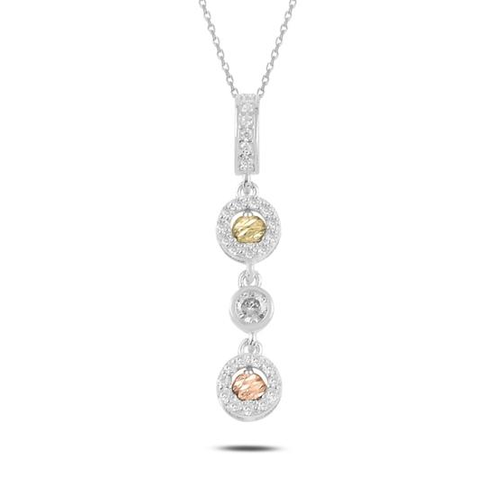 Ürün resmi: Rodyum Kaplama Dorica Top & Zirkon Taşlı Sallantılı Gümüş Bayan Kolye